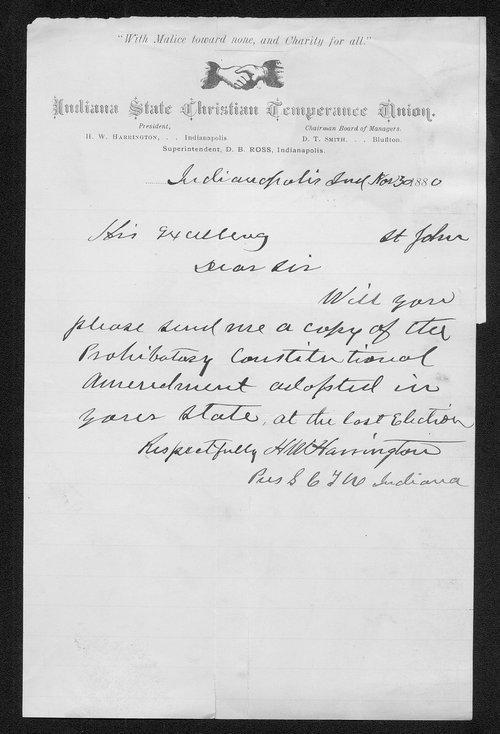H. W. Harrington to Governor John St. John - Page