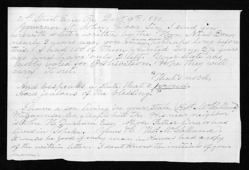 Thomas McClelland to Governor John St. John - Page
