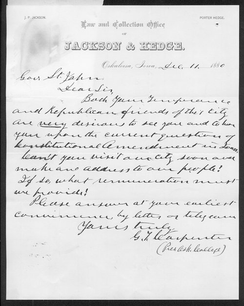 G. T. Carpenter to Governor John St. John - Page