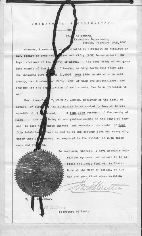 Kiowa County organization records - Page