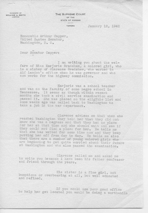 Judge William A. Smith to Senator Arthur Capper - Page