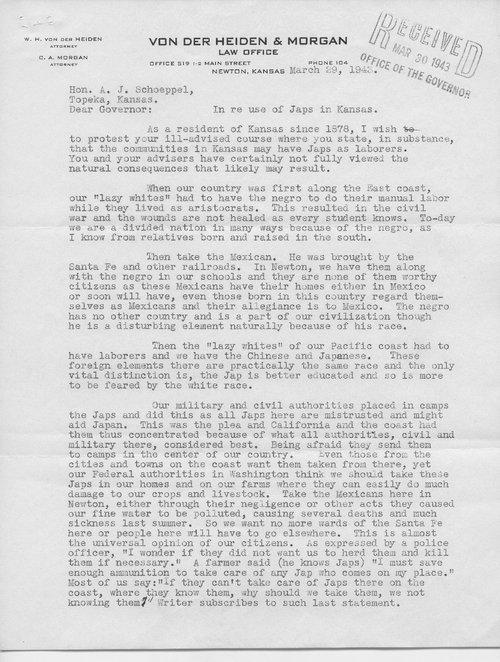 W.H. von der Heiden and Governor Andrew Schoeppel coresspondence - Page