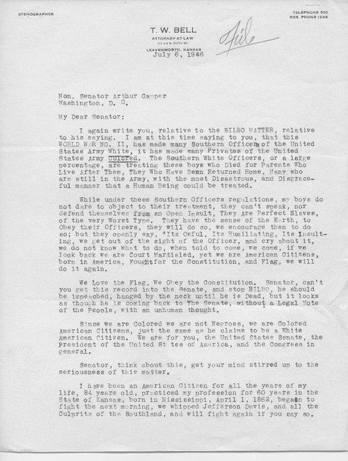 T.W. Bell to Senator Arthur Capper - Page