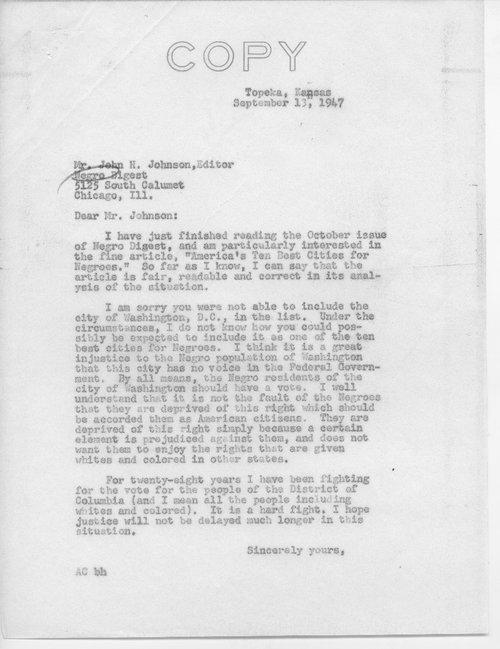 Arthur Capper to John N. Johnson - Page