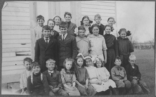 Students in front of school, Cimarron, Kansas - Page