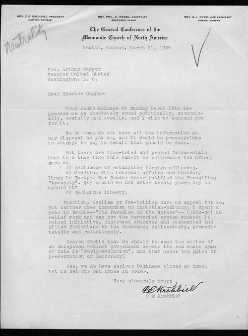 Reverend C.E. Krehbiel to Senator Arthur Capper - Page
