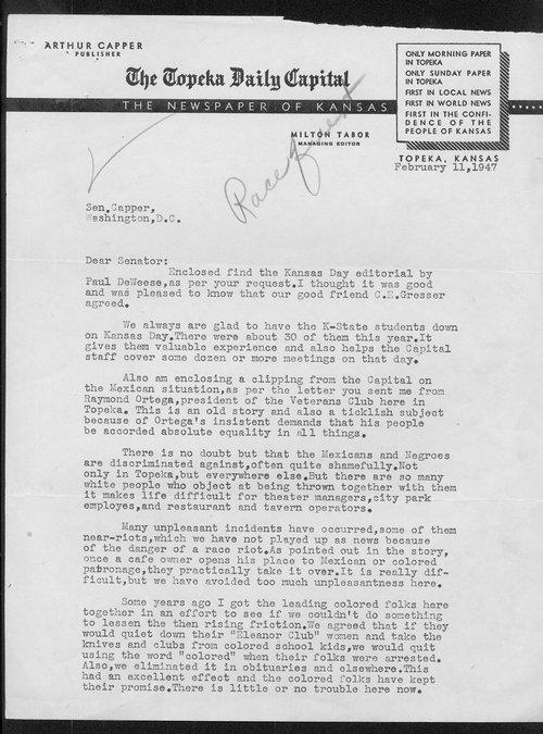 Milton Tabor to Senator Arthur Capper - Page