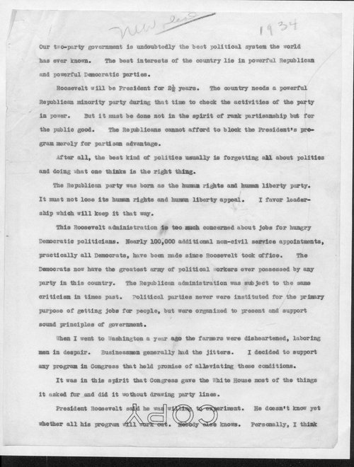 Draft of Senator Arthur Capper's New Deal speech - Page