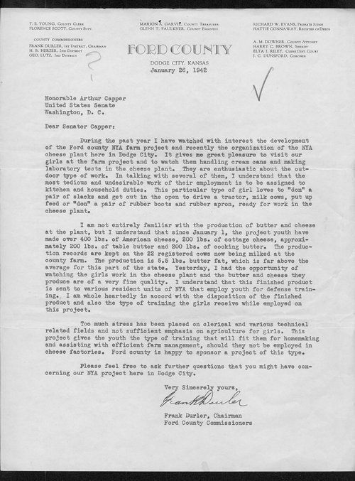Frank Durler to Arthur Capper - Page