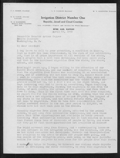 W.E. Dannefer to Senator Arthur Capper - Page
