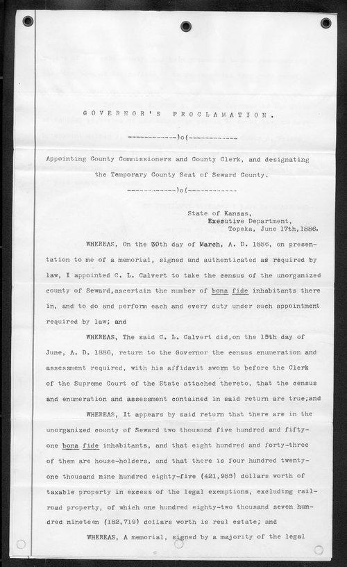 Seward County organization records - Page
