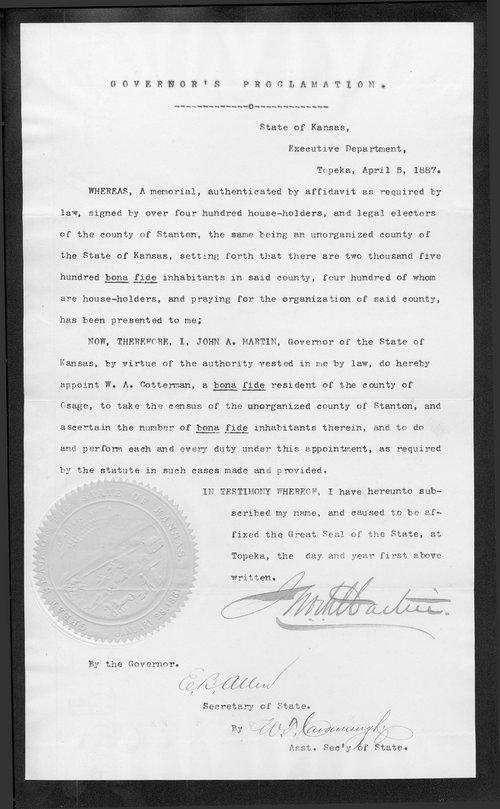 Stanton County organization records - Page