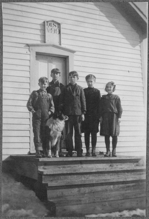 Children on steps of schoolhouse - Page
