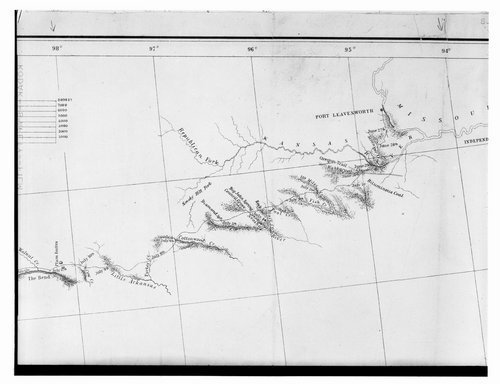 Map documenting the rivers and streams to the west of Fort Leavenworth - Page