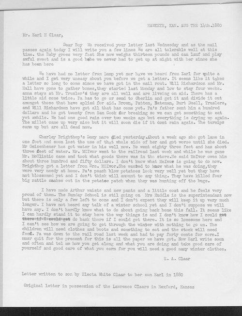 Mrs. E.A. Claar to Earl H. Claar - Page