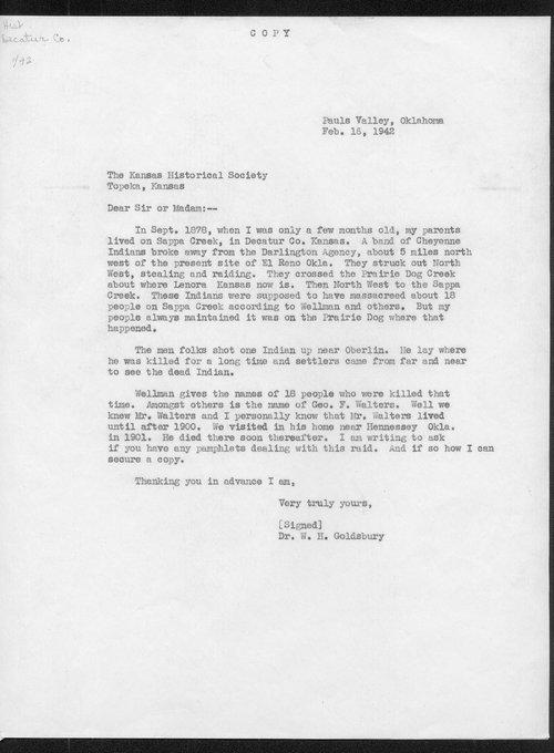 Dr. W.H. Goldsbury to Kansas Historical Society - Page