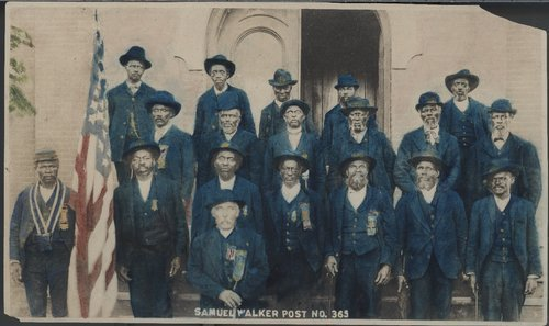 Photograph of members from the Grand Army of the Republic, Samuel Walker Post No. 365, in Lawrence. One of six African-American posts in Kansas.