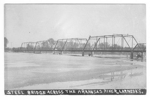 Steel bridge across the Arkansas River, Larned, Pawnee County, Kansas - Page