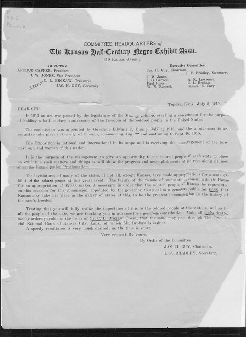Kansas Half-Century Negro Exhibit Association committee letter - Page