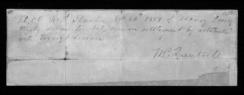 William Quantrill receipt - Page