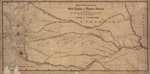 Map of routes to the gold region of Western Kansas - Page