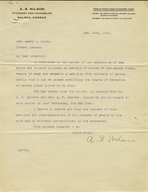 A.S. Wilson to Henry J. Allen - Page
