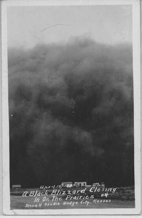 Postcard view of a dust storm near Ulysses, April 14, 1935