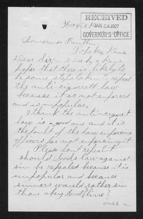 John L. Frye to Governor Ben Paulen - Page