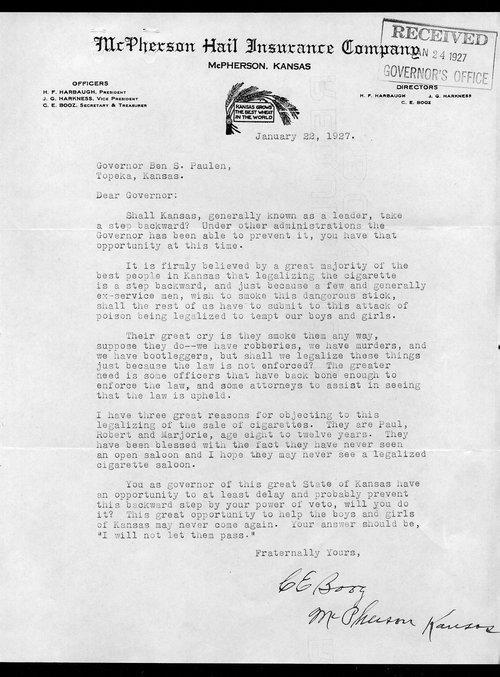 C. E. Booz to Governor Ben Paulen - Page