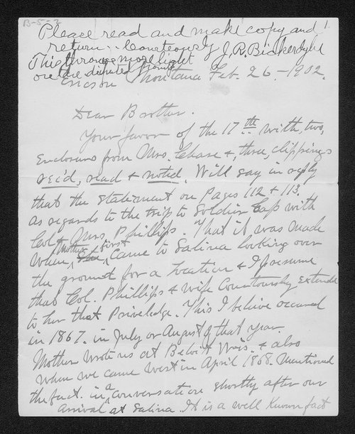 Hiram Bickerdyke to James Bickerdyke - Page