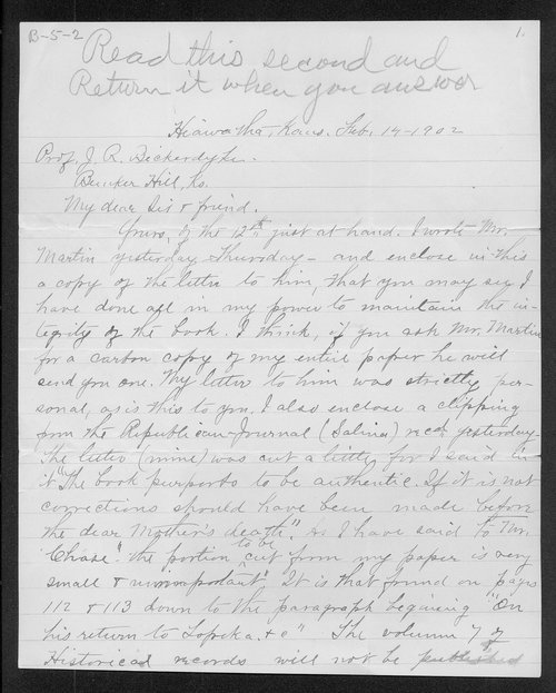 Julia A. Chase to Professor James R. Bickerdyke - Page