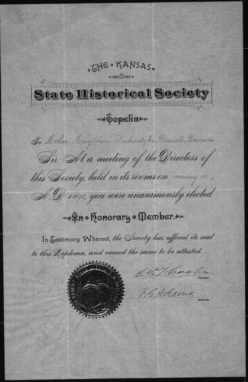 "Mary Ann Bickerdyke, ""An Honorary Member"" of the Kansas State Historical Society - Page"