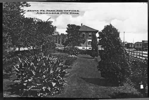 Atchison, Topeka & Santa Fe Railway park and offices, Arkansas City, Kansas - Page