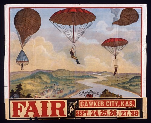 Image of poster announcing a fair to be held at Cawker City, September 1889.