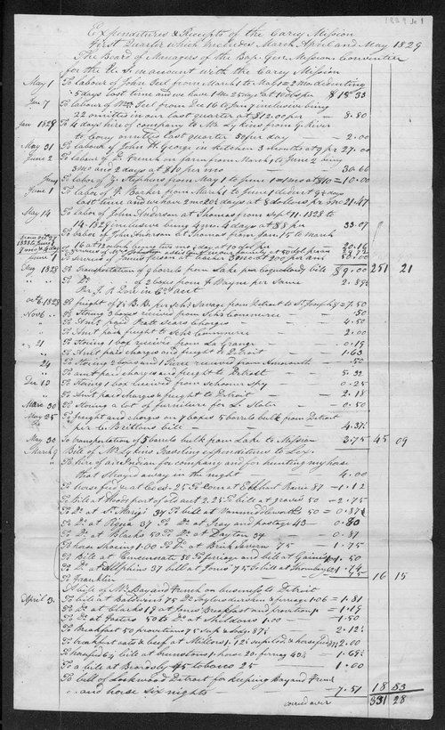 Expenditures and receipts of the Carey Mission first quarter which includes march april and may 1829 - Page