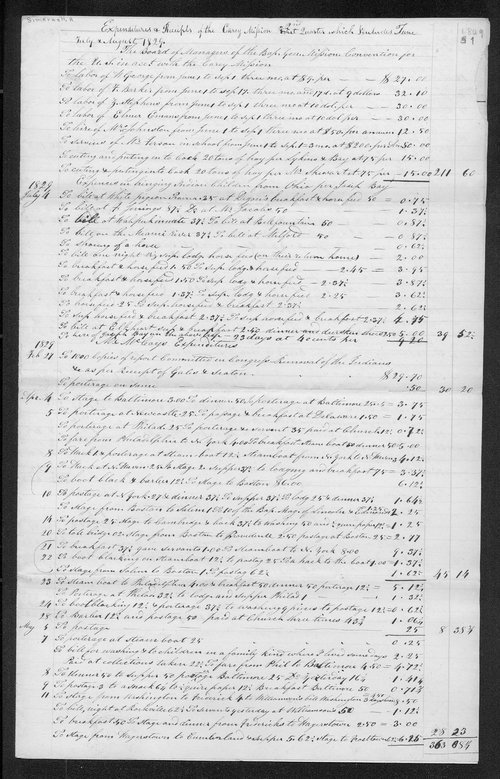 Expenditures and receipts of the Carey Mission 2nd quarter 1829 including June, July, and August 1829 - Page