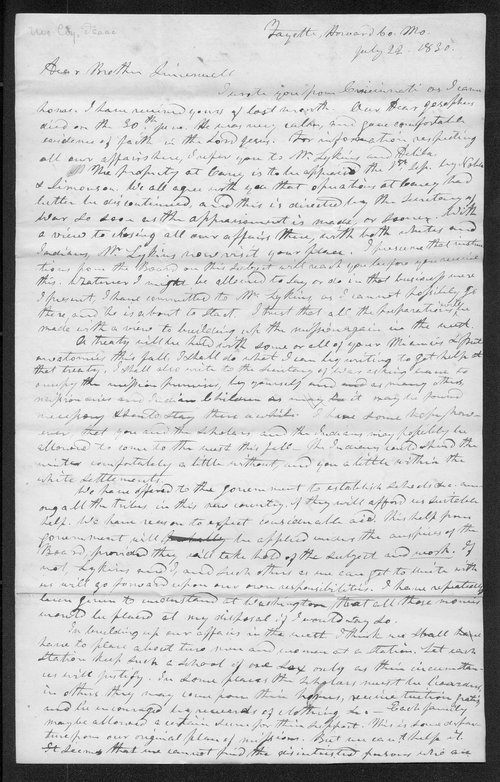 Isaac McCoy to Robert Simerwell - Page