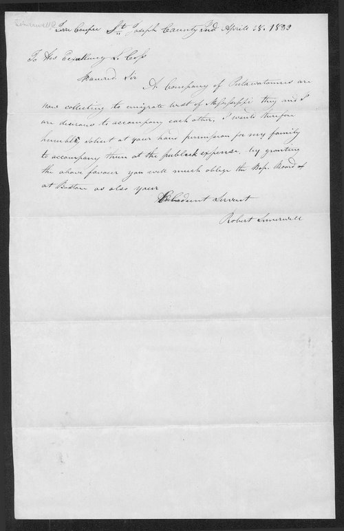 Robert Simerwell to Lewis Cass - Page