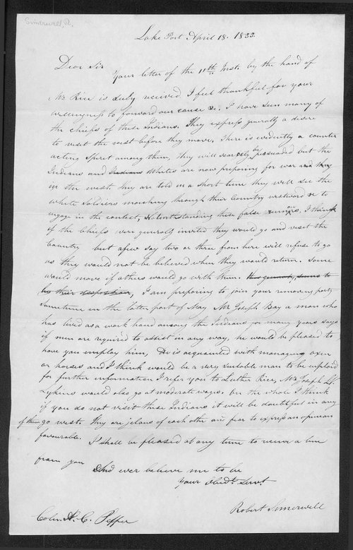 Robert Simerwell to Colonel Abel C. Pepper - Page