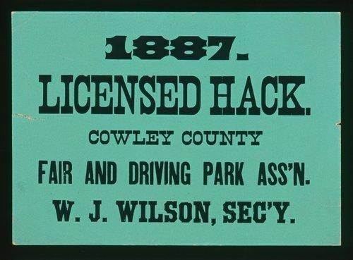 Cowley County fair, licensed hack - Page