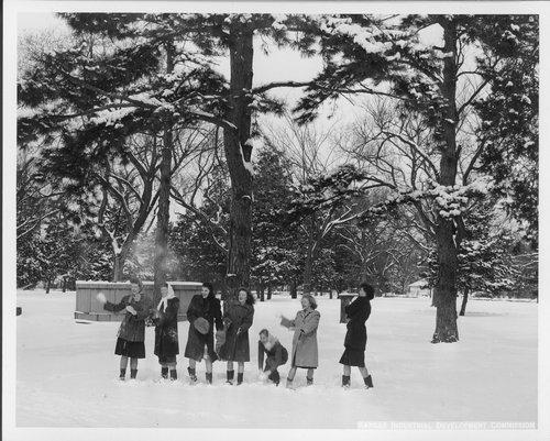 Women throwing snowballs, Topeka, Kansas - Page