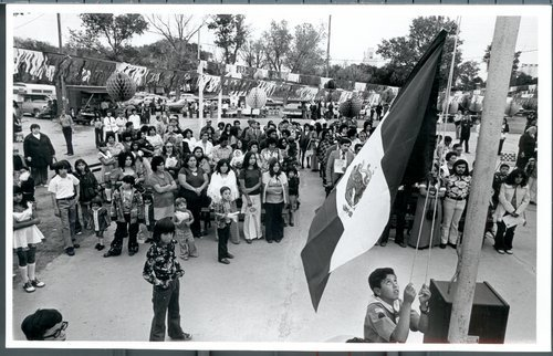 Photograph showing a Boy Scout raising the Mexican flag with a