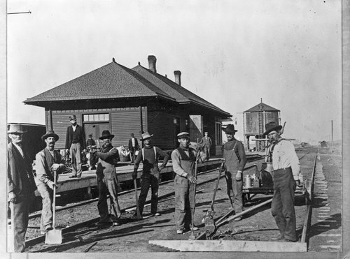 Photograph of Chicago, Rock Island and Pacific depot and track crew, Colby, KS, `1898