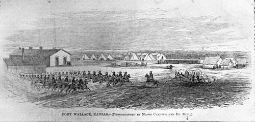 A drawing depicting Fort Wallace, published in Harper's Weekly, 1867