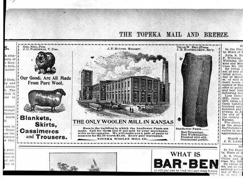 Topeka Woolen Mill Company, Topeka, Kansas - Page