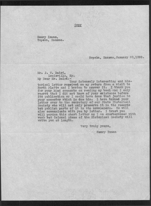 James W. Baird  and Colonel Henry Inman correspondence - Page