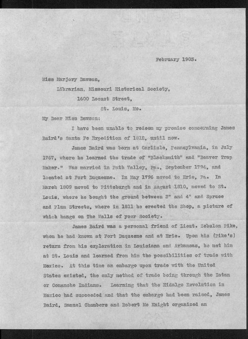 James W. Baird and Marjory Dawson correspondence - Page