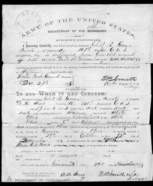 Surgeon's certificate for Charles R. Green - Page