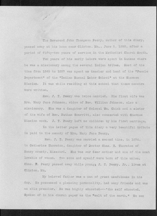 Diary of Reverend John Thompson Peery - Page