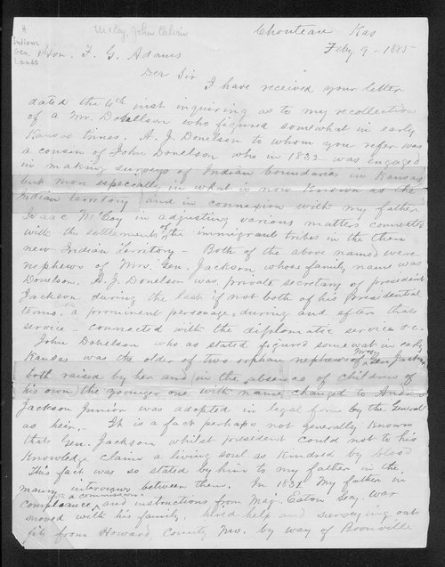 John C. McCoy to Franklin G. Adams - Page